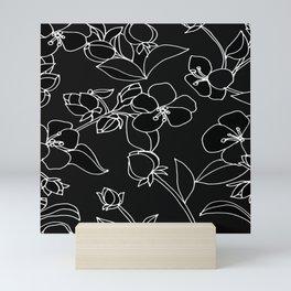 Blossoms, White Lines on Rich Black Mini Art Print