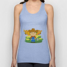 Rancher Dude With Cattle (Kawaii Style) Unisex Tank Top