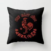 sriracha Throw Pillows featuring East Side Austin, Tx - Sriracha spoof by Sanctuary Printshop