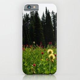 Mount Rainier Wildflower Adventure III - Pacific Northwest Mountain Forest Wanderlust iPhone Case