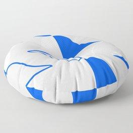 Whales In Cobalt Blue Waters Floor Pillow