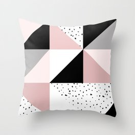 Geometrical pink black gray watercolor polka dots color block Throw Pillow