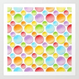 Rainbow Polka Dots Art Print