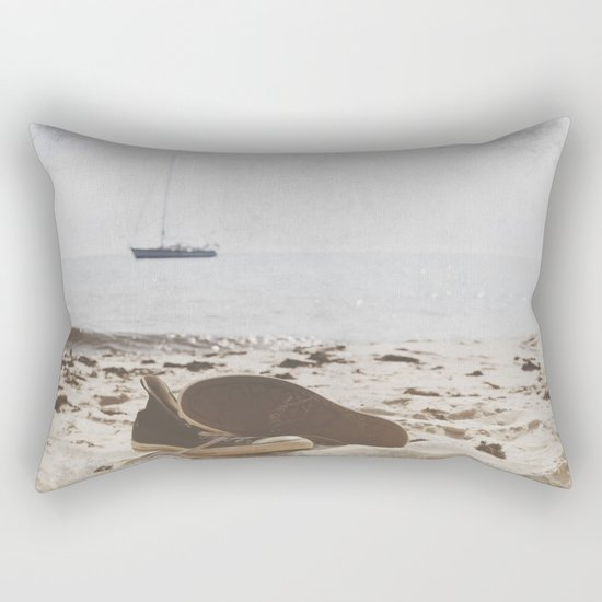 Dream of summer Lonely shoes at the Beach- Summer day- #Society6 Rectangular Pillow