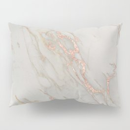 Marble - Rose Gold Marble Metallic Blush Pink Pillow Sham