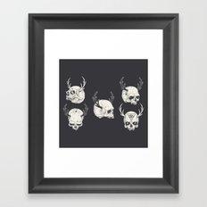 skulls & horns Framed Art Print