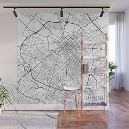 Lexington Map, USA - Black and White Wall Mural