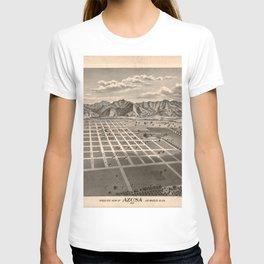 Vintage Bird's Eye Map Illustration - Azusa, California (1887) T-shirt