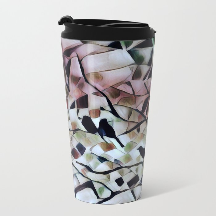 Absract Birds in a Tree Metal Travel Mug
