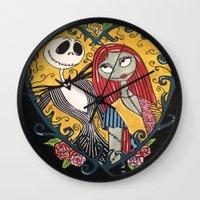 jack skellington Wall Clocks featuring Jack Skellington and Sally 2 by KittyOG