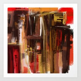 Reds Abstract City Art Print