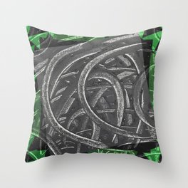 Junction - green/black graphic Throw Pillow