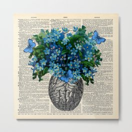 Brain Anatomy Bouquet of Happiness - Vintage Dictionary Art Metal Print