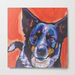 Australian Cattle Dog Portrait blue heeler colorful Pop Art Painting by LEA Metal Print