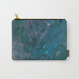 Unseen - dark teal acrylic pour abstract art Carry-All Pouch
