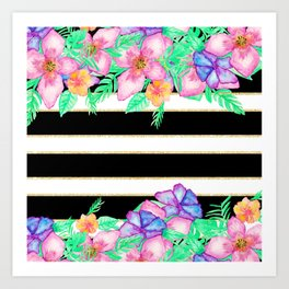 Stylish black white gold stripes floral monogram  Art Print