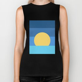 Sunset Over Waves | Blue Biker Tank