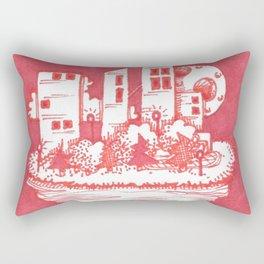Red Floatie Island Buildings Rectangular Pillow