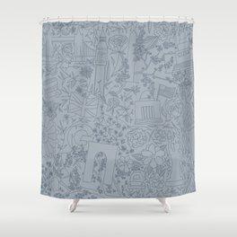 DC NYC London - Powder Blue Shower Curtain