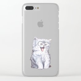 A cat with glasses Clear iPhone Case