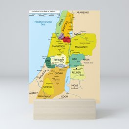 Map of Twelve Tribes of Israel from 1200 to 1050 According to Book of Joshua Mini Art Print