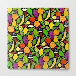 Fruit Salad Dessert (on Black) Metal Print