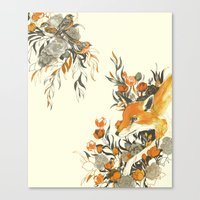 japanese Canvas Prints featuring fox in foliage by Teagan White