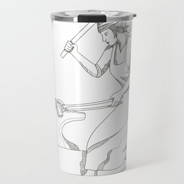 Female Blacksmith at Work Doodle Art Travel Mug