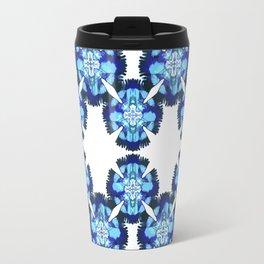 blue feathers circular pattern Travel Mug