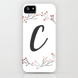 Floral Initial Wreath Monogram C iPhone Case