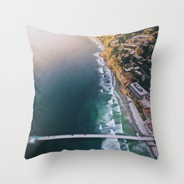 Aerial view of Scripps Pier in San Diego Throw Pillow