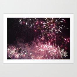 Pink Fireworks @ One Fullerton, Singapore. Art Print