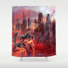Wolves of Future Past landscape Shower Curtain
