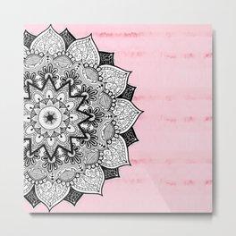 Artistic Boho Hand Drawn Mandala on Pink Tie Dye Metal Print