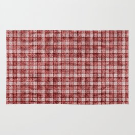 Rusty Red Gingham Faux Terry Toweling Rug