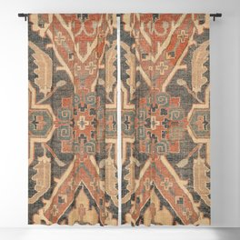 Geometric Leaves II // 18th Century Distressed Red Blue Green Colorful Ornate Accent Rug Pattern Blackout Curtain