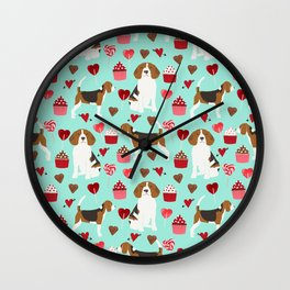 Beagle valentines day cupcakes heart love dog breed must have gifts Wall Clock