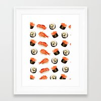 sushi Framed Art Prints featuring Sushi by Jenny Viljaniemi