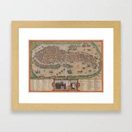 Vintage Map of Venice Italy (1572) Framed Art Print