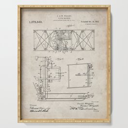 Wright Brother's Aircraft Patent - Aviation Art - Antique Serving Tray