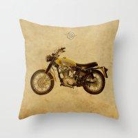ducati Throw Pillows featuring Ducati Scrambler 350 1970 by Larsson Stevensem