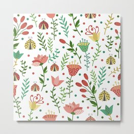 Floral pattern with ladybugs Metal Print