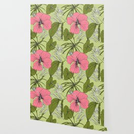 Tropical exotic flowers and leaves. Seamless pattern. Wallpaper