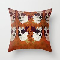 calavera Throw Pillows featuring Calavera by Eveline