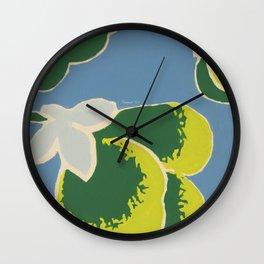 Big Japanese Flower On Blue Background Wall Clock