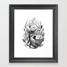 Oh Deer B&W Framed Art Print
