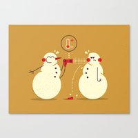 snowman Canvas Prints featuring Snowman ... by AQ studio