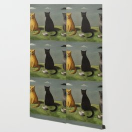 Three Cats with Clouds That Follow Them Everywhere by Gertrude Abercrombie Wallpaper