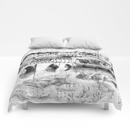 Terrasson village - Black ink Comforters