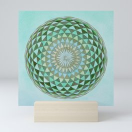 Watercolor Sacred Geometry Green Mandala Torus Mini Art Print